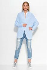 Błękitny Sweter bez Zapięcia z Warkoczami