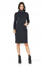 Grafitowa Dresowa Midi Sukienka z Golfem