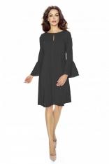 Czarna Sukienka Koktajlowa z Rozkloszowanym Rękawem