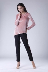 Różowa Wizytowa Asymetryczna Bluzka z Weluru