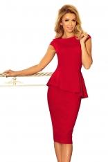 Ołówkowa Sukienka Midi z Asymetryczną Baskinką - Czerwona