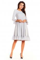 Szara Kobieca Wizytowa Sukienka z Falbankami
