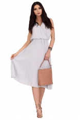 Szara Plisowana Sukienka z Kopertowym Dekoltem
