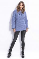 Niebieski Stylowy Luźny Sweter z Frędzlami