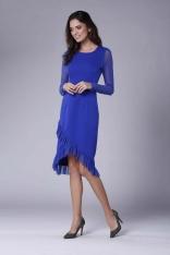 Chabrowa Wizytowa Sukienka z Kopertowym Dołem z Hiszpańską Falbanką