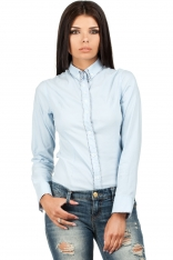 Błękitna Klasyczna Koszula z Wzorzystymi Detalami