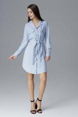 Błękitna Koszulowa Sukienka z Wiązanym Paskiem