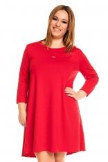 Czerwona Trapezowa Sukienka PLUS SIZE