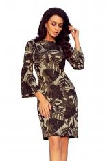 Khaki Kobieca Dopasowana Sukienka w Liście z Rozkloszowanym Rękawem