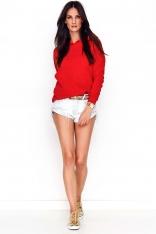 Czerwona Klasyczna Bluza Kangurka z Kapturem