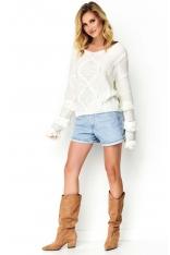 Sweter z Frędzlami - Ecru