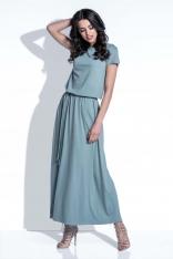 Oliwkowa Sukienka Maxi z Wiązanym Paskiem
