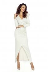 Sukienka Kopertowa Maxi z Długim Rękawem