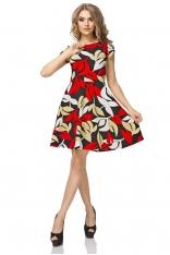 Sukienka Wzorzysta Rozkloszowana z Mini Rękawkiem Wzór - Liście