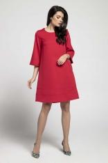 Czerwona Wizytowa Sukienka o Linii A z Przeszyciami