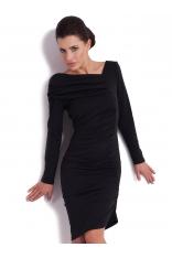 Stylowa Czarna Sukienka z Dzianiny
