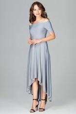 Szara Długa Asymetryczna Sukienka z Odkrytymi Ramionami