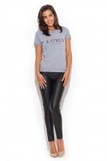Szary Klasyczny T-shirt Damski z Nadrukiem
