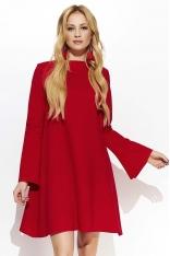 Czerwona Odmładzająca Trapezowa Sukienka z Poszerzanym Rękawem