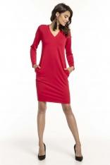 Czerwona Dzianinowa Sukienka z Dekoltem V