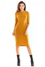 Kamelowa Ołówkowa Sukienka Midi z Prążkowanej Dzianiny