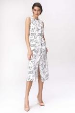 Prosta Midi Sukienka z Graficznym Wzorem
