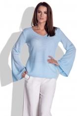 Niebieska Bluzka Swetrowa z Rozkloszowanym Rękawem