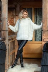Ecru Oversizowy Sweter w Prążek z Niską Stójką