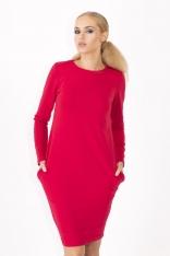 Czerwona Prosta Sukienka z Kieszeniami w Szwach