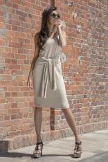 Beżowa Prosta Midi Sukienka Swetrowa z Finezyjnym Wiązaniem