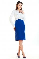 Niebieska Dopasowana Spódnica z Ozdobnymi Plisami