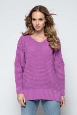 Fioletowy Oversizowy Sweter z Dekoltem V