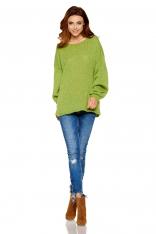 Oversizowy Zielony Sweter z Bufiastym Rękawem