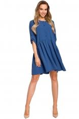 Niebieska Oversizowa Sukienka Zapinana na Guziki