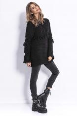 Czarny Stylowy Luźny Sweter z Frędzlami