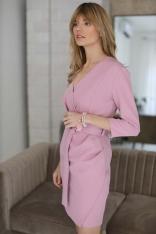 Prosta Sukienka z Kopertowym Dekoltem - Różowa
