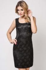 Czarna Sukienka Koronkowa Dopasowana na Szerokich Ramiączkach