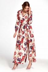 Kopertowa Maxi Sukienka w Kwiaty