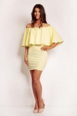Żółta Kobieca Sukienka z Odkrytymi Ramionami z Peleryną