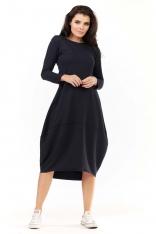 Granatowa Dzianinowa Midi Sukienka Bombka z Długim Rękawem