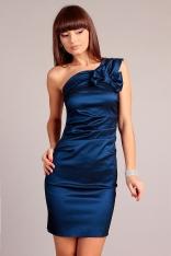Ciemno-niebieska Wieczorowa Sukienka na Jedno Ramie z Kokardą