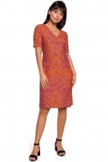 Sukienka o Kroju Litery A - Pomarańczowa