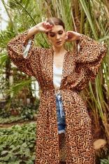 Wzorzysta Kimonowa Narzutka - Leopard
