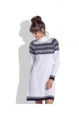 Biała Ciepła Sukienka z Golfem w Norweskie Wzory