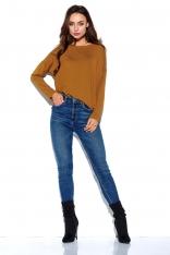 Karmelowa Oversizowa Bluzka z Długim Rękawem