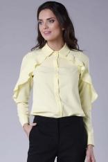 Koszulowa Żółta Bluzka z Falbanką