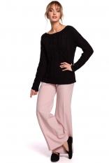 Uniwersalny Sweter z Warkoczowym Splotem - Czarny