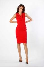 Czerwona Dopasowana Sukienka bez Rękawów z Dekoltem V