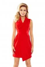 Czerwona Sukienka z Asymetrycznym Kopertowym Dołem