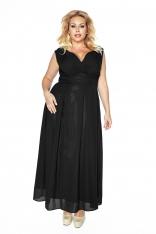 Czarna Wieczorowa Sukienka Maxi Plus Size